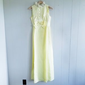 1950s Unlabeled Yellow Chiffon Prom/Party Dress